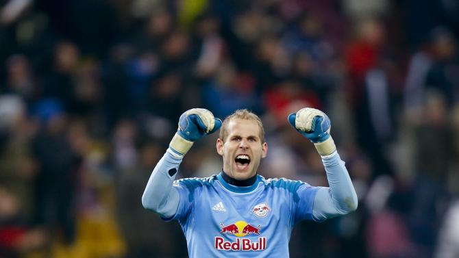 Salzburg's Gulacsi reacts during their Europa League soccer match against Esbjerg fB in Salzburg
