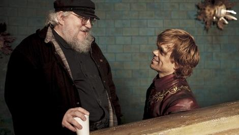 Game of Thrones author George R.R. Martin presumably telling Peter Dinkalge's Tyrion Lannister about his hilarious Red Comet ending.