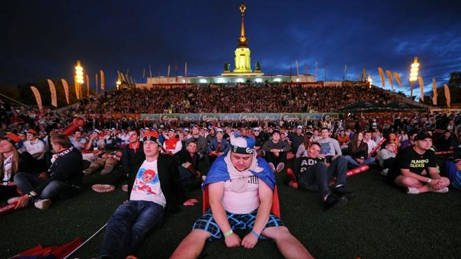 TOPSHOTS  Russian Football Fans Reacts While Watchin On A Giant Screen The Group A Match Between Russia And Greece, In AFP/Getty Images