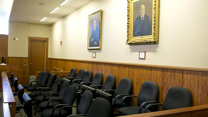 The empty jury box is pictured as jurors have the day off during a motion regarding jail phone recordings in the murder trial for former NFL player Aaron Hernandez at the Bristol County Superior Court in Fall River, Massachusetts