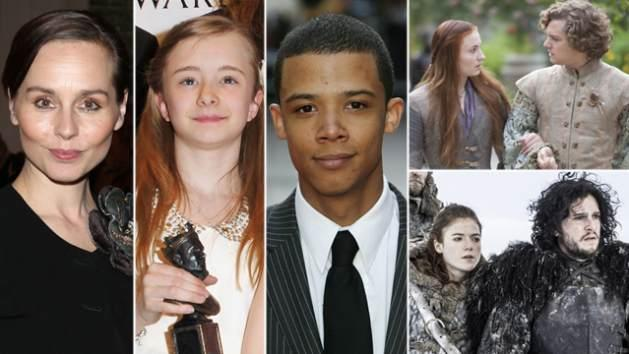 AccessHollywood.com's guide to Episode 305's new characters -- Tara Fitzgerald as Selyse Baratheon, Kerry Ingram as Shireen Baratheon and Jacob Anderson as Grey Worm  -- Getty ImagesHBO