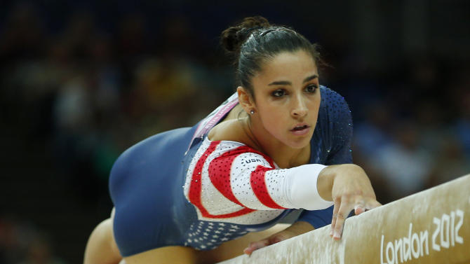 Alexandra Raisman of the U.S. competes in the women's gymnastics balance beam final at the London 2012 Olympic Games