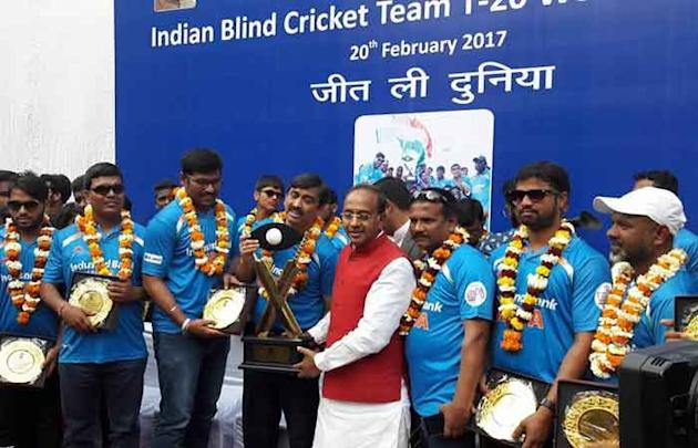 T20 World Cup Cricket for Blind-winning team felicitated