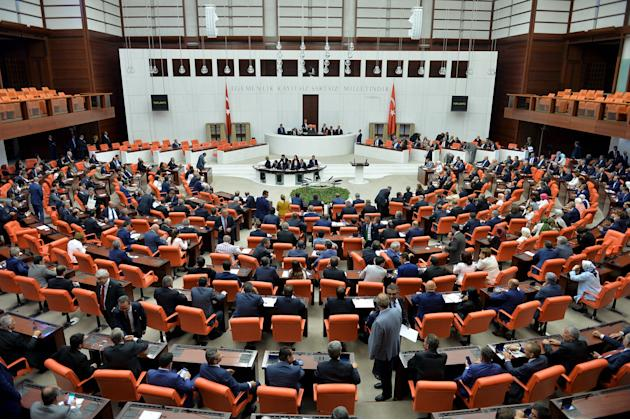 Turkish Parliament convene to debate the extension by one year of a mandate enabling the deployment of Turkish troops abroad in the face of threats from within Syria and Iraq in Ankara