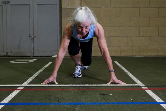 Dorothy McLennan prepares her start for the 100m sprint (Caters)