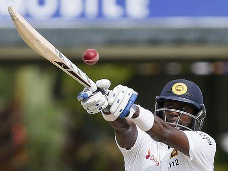 Sri Lanka's captain Mathews plays a shot during the second day of their second test cricket match against Pakistan in Colombo