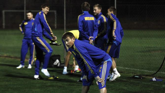 Ukraine's soccer player Rotan stretches during a training session in Ayia Napa village in Cyprus