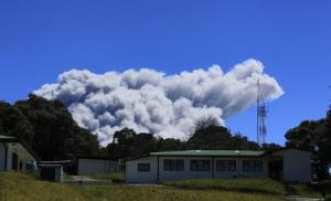 Ash rises over Turrialba volcano, as seen from San…