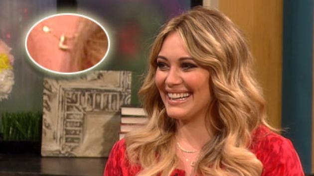 Hilary Duff shows off her 'L' charm necklace, in honor of her son Luca -- Access Hollywood
