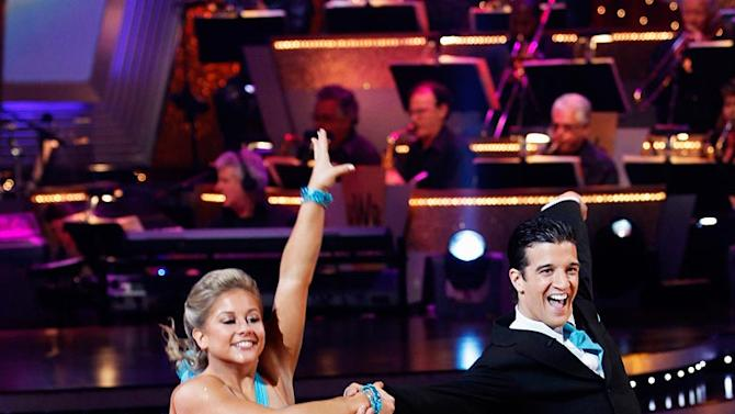 """Shawn Johnson and Mark Ballas perform the Quickstep to """"Friend Like Me"""" by Robin Williams (from Aladdin) on """"Dancing with the Stars."""""""