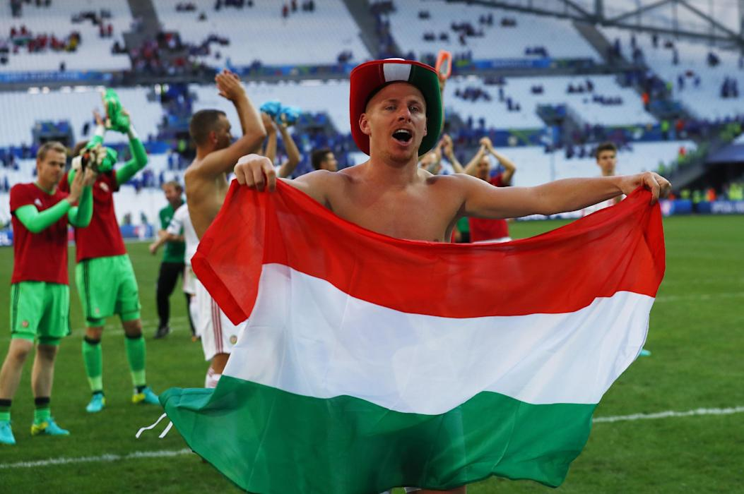 Hungary's Balazs Dzsudzsak celebrates at the end of the match