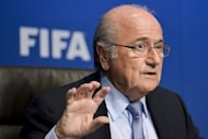 FIFA president Sepp Blatter gestures during a press conference at the headquarters of the Football's world governing body in Zurich. Blatter's position at the head of world football's governing body has been further weakened by fresh corruption allegations, Bayern Munich president Uli Hoeness said