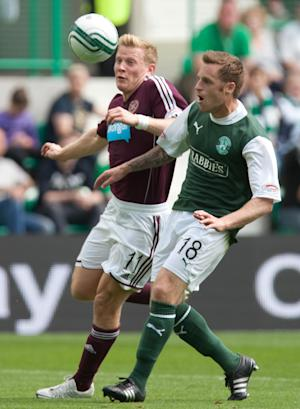Hibs' Alan Maybury, right, is not surprised at Dundee United's improved form