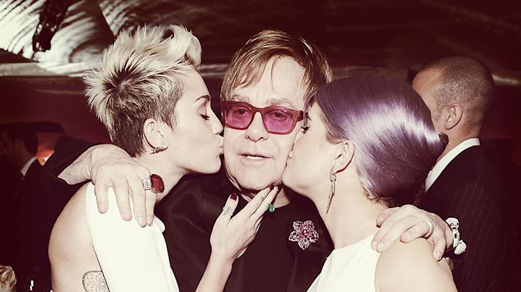An Alternative View Of 21st Annual Elton John AIDS Foundation Academy Awards Viewing Party: Miley Cyrus, Sir Elton John and Kelly Osbourne