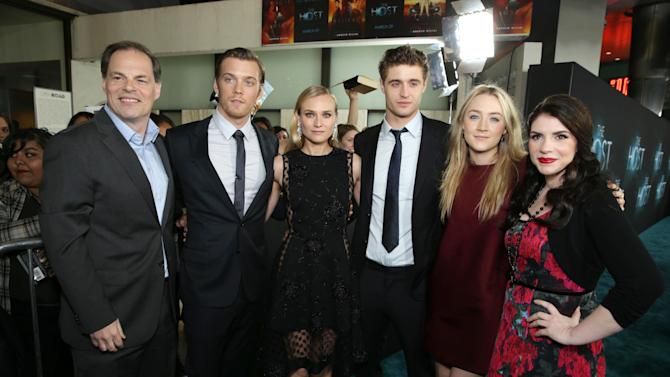 Open Road Film's Tom Ortenberg, Jake Abel, Diane Kruger, Max Irons, Saoirse Ronan and Author Stephenie Meyer at Open Road Films Los Angeles Premiere of 'The Host' held at the ArcLight Hollywood, on Tuesday, March, 19, 2013 in Los Angeles. (Photo by Eric Charbonneau/Invision for Open Road Films/AP Images)