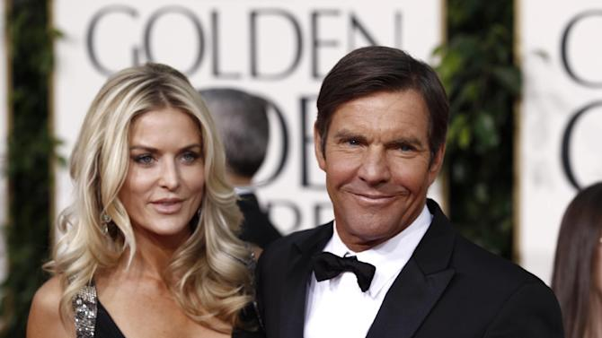 "FILE - In this Jan. 16, 2011 file photo, actor Dennis Quaid and his wife Kimberly Buffington Quaid arrive for the Golden Globe Awards in Beverly Hills, Calif. Quaid's third wife has filed for divorce, saying the couple's seven-year marriage has ""become insupportable because of discord or conflict of personalities."" The divorce papers filed March 2, 2012, were first reported Friday by celebrity website TMZ.  The couple has twins Zoe and Thomas, born in 2007. Quaid previously married and divorced actresses P. J. Soles and Meg Ryan. (AP Photo/Matt Sayles, file)"