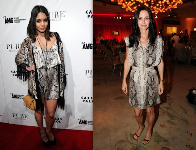 Python is a huge trend this season, but that's not to say I advise wearing it all over, from head to toe. I'm looking at you, Vanessa Hudgens (22). We should all take a cue from Courteney Cox (47) and