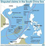Graphic on the disputed boundaries in the South China Sea