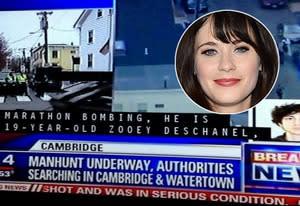 Fox news broadcast; Zooey Deschanel   Photo Credits: Twitter; Amanda Edwards/WireImage
