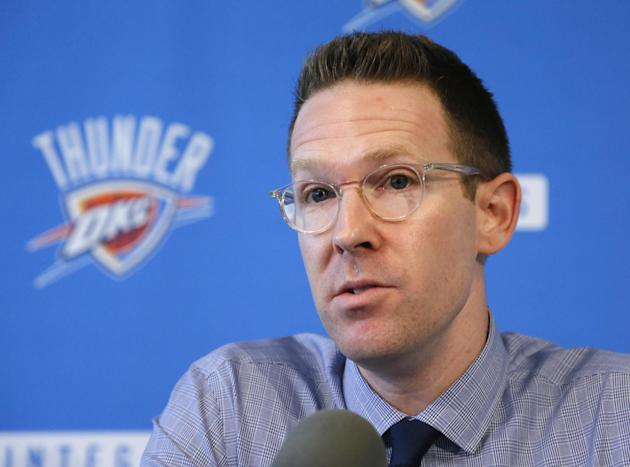Sam Presti, general manager of the NBA's Oklahoma City Thunder basketball team, answers questions during a news conference in Oklahoma City, Wednesday, Sept. 25, 2013. Thunder starter Russell Westbroo