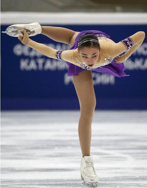 Japan's Rika Hongo performs during the ladies short program at the Rostelecom Cup ISU Grand Prix of Figure Skating in Moscow