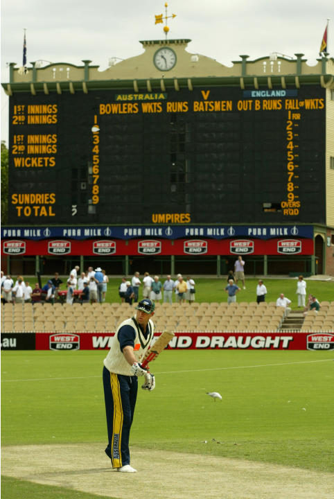 Matthew Hayden checks out the wicket