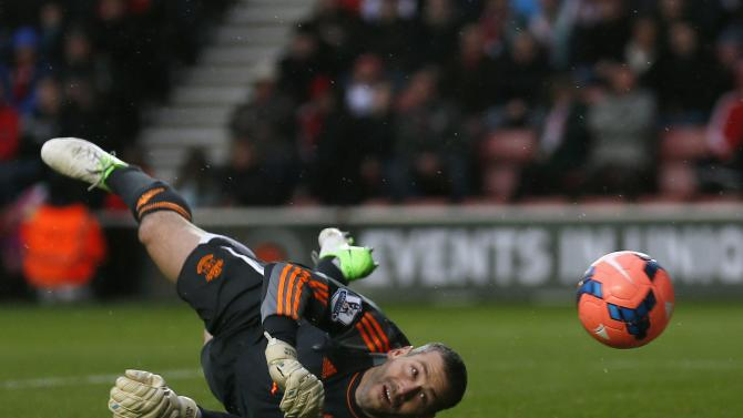 Southampton's goalkeeper Davis makes a save during their English FA Cup fourth round soccer match against Yeovil Town at St Mary's stadium in Southampton