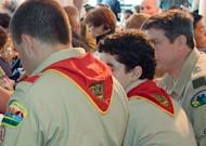 Some Boy Scouts of America are seen at a breakfast in Boston in 2009. The Boy Scouts of America have reaffirmed a ban on openly gay members and leaders after a secret review, citing the preferences of its conservative-leaning rank and file