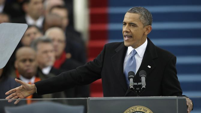 President Barack Obama speaks at his ceremonial swearing-in at the U.S. Capitol during the 57th Presidential Inauguration in Washington, Monday, Jan. 21, 2013. (AP Photo/Pablo Martinez Monsivais)