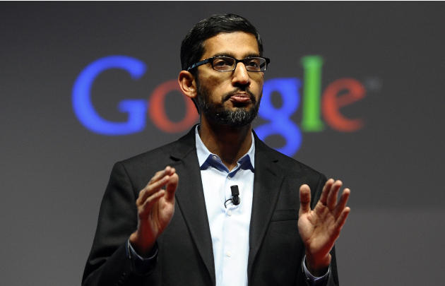 Sundar Pichai, senior vice president of Android, Chrome and Apps, talks during a conference during the Mobile World Congress, the world's largest mobile phone trade show in Barcelona, Spain, Monda