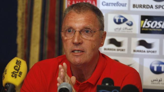 Tunisia's national soccer team coach Ruud Krol speaks during a news conference in Tunis