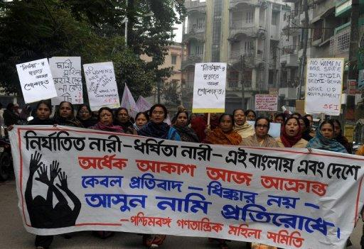 Activists from the women's wing of the Communist Party of India- Marxist, pictured during a protest against the gang rape and murder of a student in the Indian captial, in Siliguri, on January 8, 2013. The case against five Indian men charged with the gang-rape and murder is set to be moved to a fast-track court on Thursday after a lawyer said three of the accused would deny the charges.