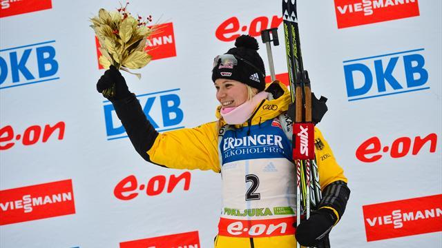 Biathlon - Gossner overcomes penalties to win dramatic pursuit