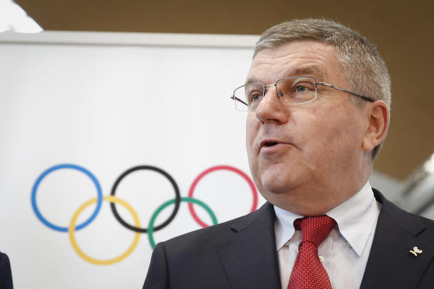 Thomas Bach, president of the International Olympic Committee (IOC) speaks to media during a photo call at Kuala Lumpur International Airport in Sepang, Malaysia, on Friday, July 24, 2015. Malaysia wi