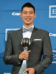 Jeremy Lin, seen here posing with the 'Best Breakthrough Athlete' award, in the press room during the 2012 ESPY Awards at Nokia Theatre L.A. Live, on July 11, in Los Angeles, California