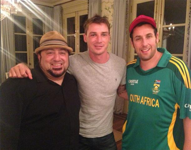 Adam Sandler (far right) with Dale Steyn (centre) on the sets of The Familymoon. Photo via https://ec.yimg.com/ec?url=http%3a%2f%2finstagram.com%2fdalesteyn&t=1454843181&sig=gILTENJDrUT.rTDvqjjZdw--~C