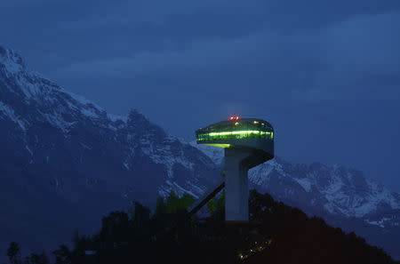A ski jumping hill designed by Iraqi-British architect Zaha Hadid is seen in Innsbruck