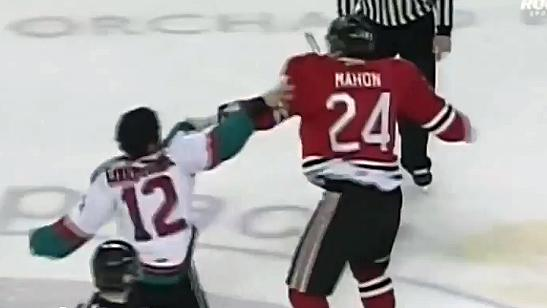 WHL fight between Kelowna's Tyrell Goulbourne and Portland's Joe Mahon
