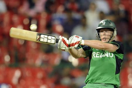 File photo of Ireland's Kevin O'Brien hitting a shot during their ICC Cricket World Cup match against England in Bangalore