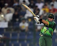 Pakistani batsman Nasir Jamshed plays a shot during the second One Day International cricket match between Pakistan and Australia at the Abu Dhabi cricket stadium. Jamshed hit an aggressive 97 to guide Pakistan to a seven-wicket win over Australia in the second one-day, levelling the three-match series at 1-1 on Friday