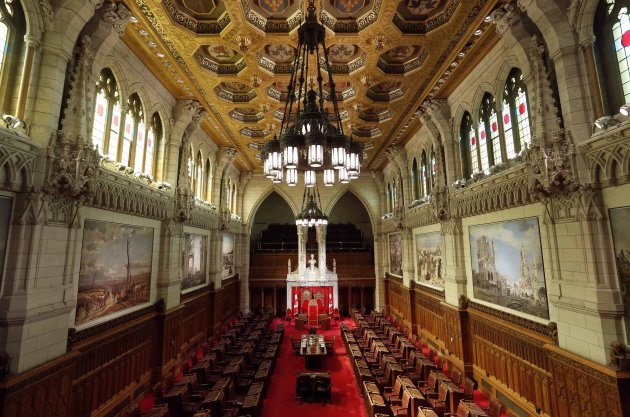 A view shows the Senate Chamber on Parliament Hill in Ottawa April 24, 2014. The Supreme Court of Canada will deliver its opinion Friday on how Canada's unelected Senate can be reformed or abolished. REUTERS/Chris Wattie (CANADA - Tags: POLITICS)