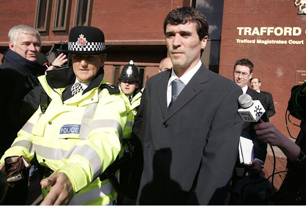 Manchester United captain Keane leaves Trafford Magistrates court in Manchester.