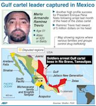 Details of latest arrest and map showing areas controlled by drug cartels in Mexico