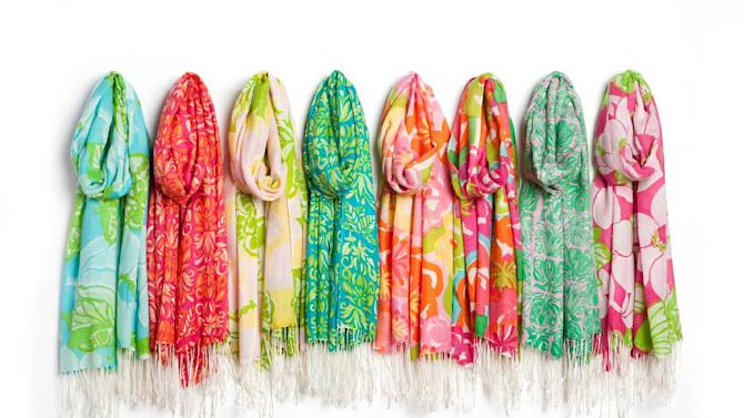 FILE - In  this undated file photo released by Lilly Pulitzer, scarves design by Lilly Pulitzer are shown. P ulitzer, known for her tropical print dresses, died in Florida at 81 on Sunday, April, 7, 2013. (AP Photo/Lilly Pulitzer) NO SALES