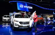 A Hyundai Santa Fe Sport edition is displayed at the LA Auto Show in Los Angeles on November 29, 2012. Hyundai forecast Wednesday a modest 4.1% increase in car sales this year to 7.4 million units, with a strong won harming competitiveness