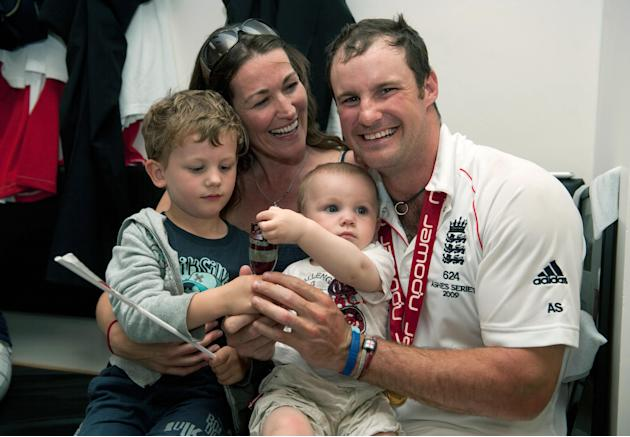 England's Andrew Strauss with his wife R