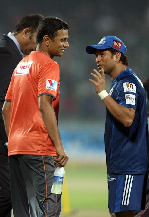 Rahul Dravid and Sachin Tendulkar ahead of CLT20 Final between Rajasthan Royals and Chennai Super Kings at Feroz Shah Kotla stadium, in Delhi on Oct. 6, 2013.
