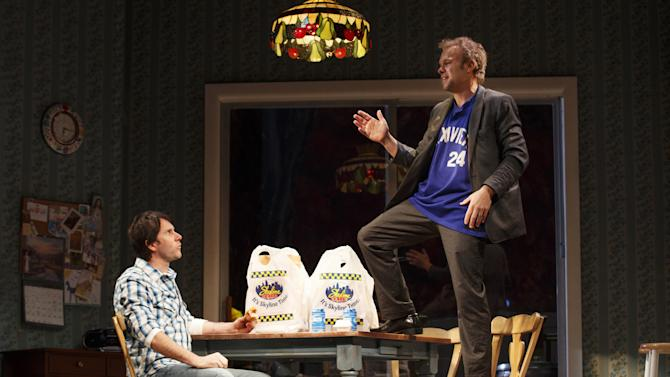 "This undated publicity photo provided by Boneau/Bryan-Brown shows Josh Hamilton as Phil, left, and Nobert Leo Butz as Jack, in a scene from ""Dead Accounts,"" by Theresa Rebeck, at Broadway's Music Box theatre in New York. (AP Photo/Boneau/Bryan-Brown, Joan Marcus)"