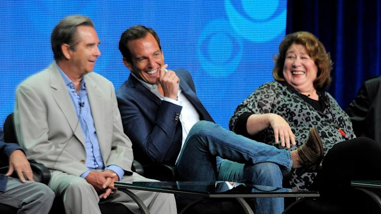 "Acotrs, from left, Beau Bridges, Will Arnett and Margo Martindale participate in ""The Millers"" panel at the CBS Summer TCA on Monday, July 29, 2013, at the Beverly Hilton hotel in Beverly Hills, Calif. (Photo by Chris Pizzello/Invision/AP)"