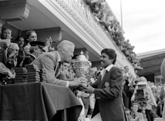 Cricket World Cup 1983 Final India v West Indies at Lord's Kapil Dev receives the Prudential World Cup from the Prudential Managing Director 63387_17 ...